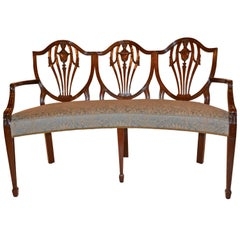 Custom Georgian-Style Curved Mahogany Bench