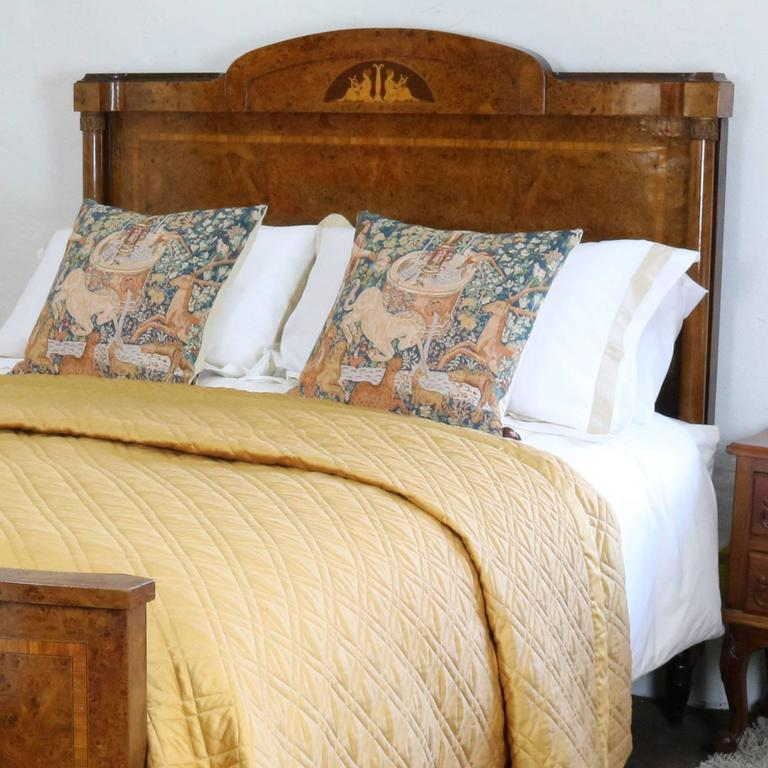 Empire style inlaid walnut bed wk57 at 1stdibs for Empire style bed