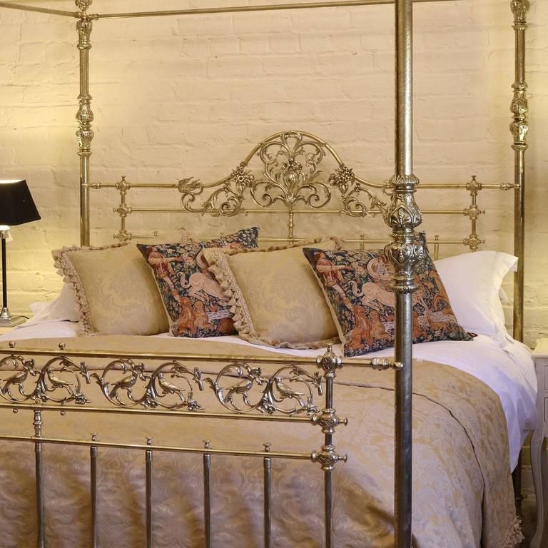 A magnificent all brass four-poster bed bed with etched posts ornate brass fittings & All Brass Wide Four Poster Bed with Song Bird Castings M4P21 at ...