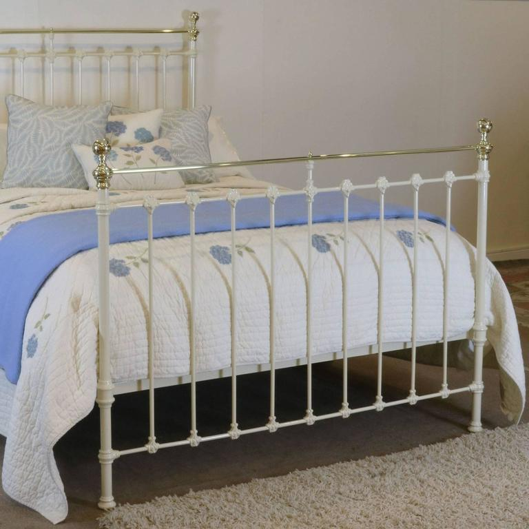 Victorian Cream Brass And Iron Bed Mk64 At 1stdibs