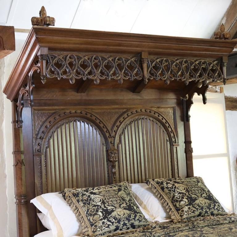 Gothic Mahogany Half Tester Bed At 1stdibs