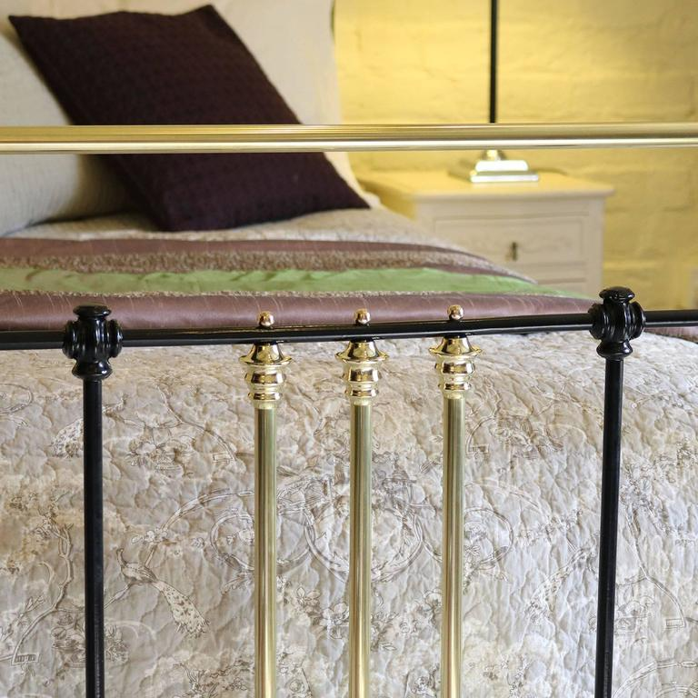 19th Century Wide Brass and Iron Bed in Black, MSK29 For Sale