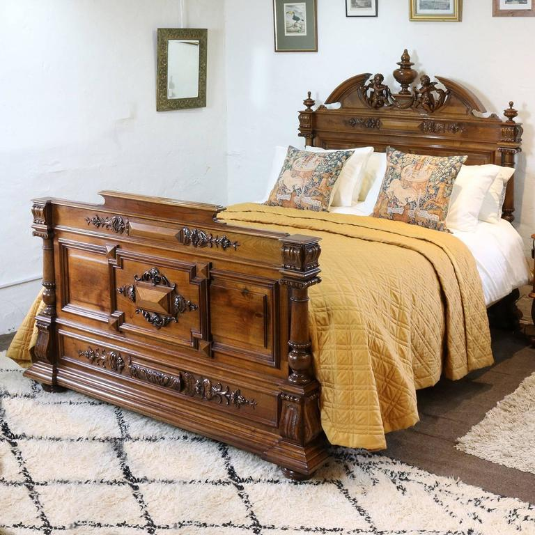 Renaissance style walnut bed with cherubs wk69 at 1stdibs - Renaissance style bedroom furniture ...