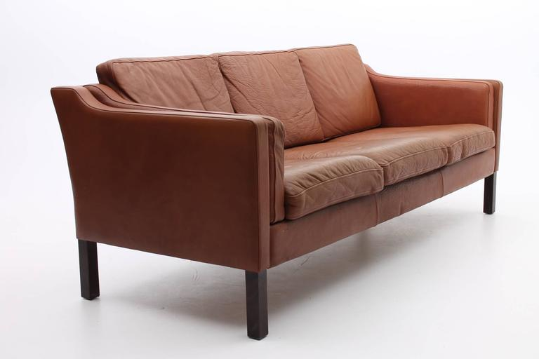 Chestnut Brown Leather Sofa Danish Mid Century Modern
