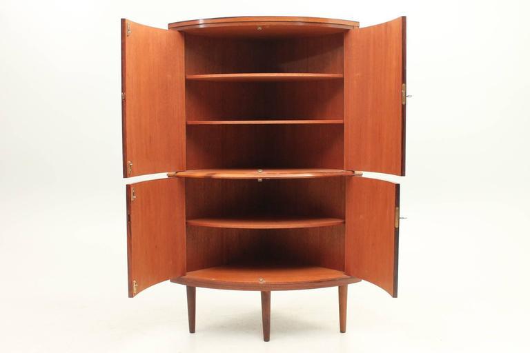 Mid Century Corner Cabinet: Danish, Mid-Century Modern Rosewood Corner Cabinet, Circa