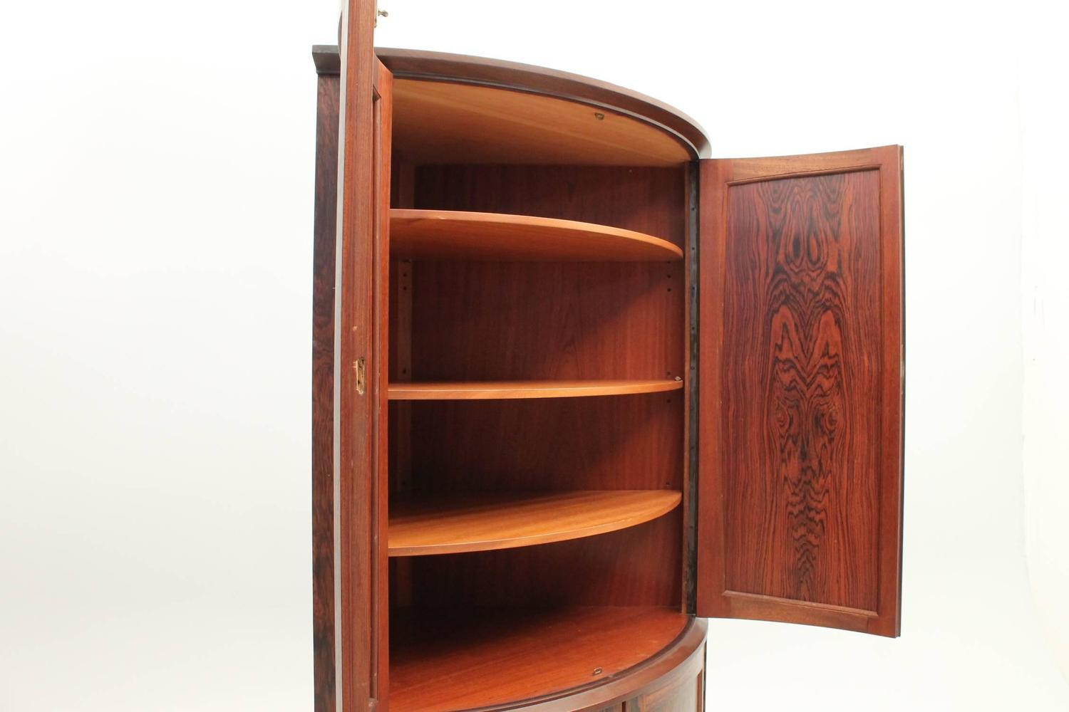 Mid Century Corner Cabinet: Rosewood Corner Cabinet With Two Storage Sections, Danish