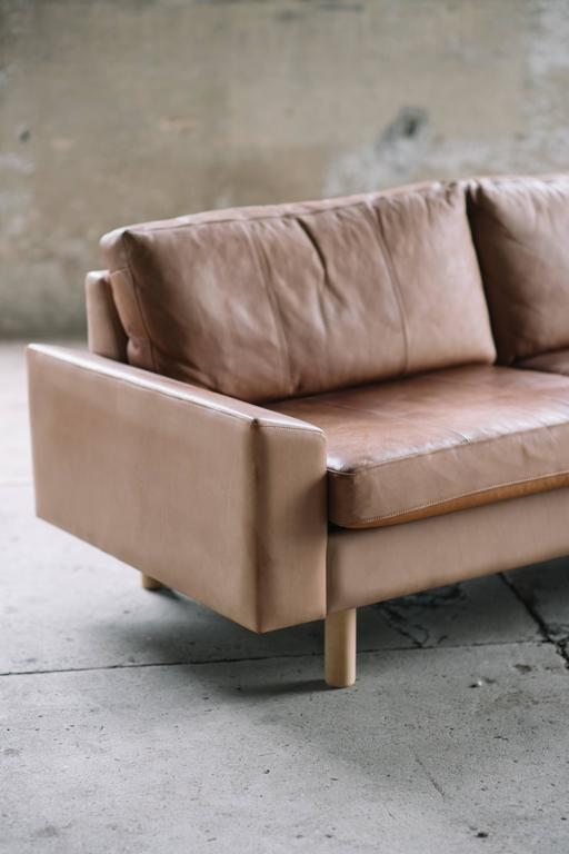 leather sofa by illums bolighus with sand colored