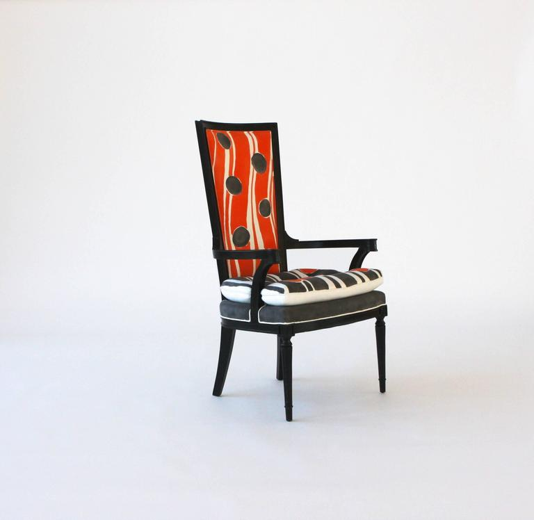 Hand painted high back arm or dining chair for sale at 1stdibs for High back dining room chairs with arms