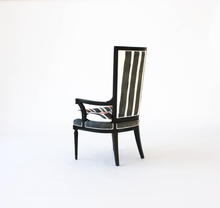Hand-Painted High Back Arm Or Dining Chair For Sale At 1stdibs