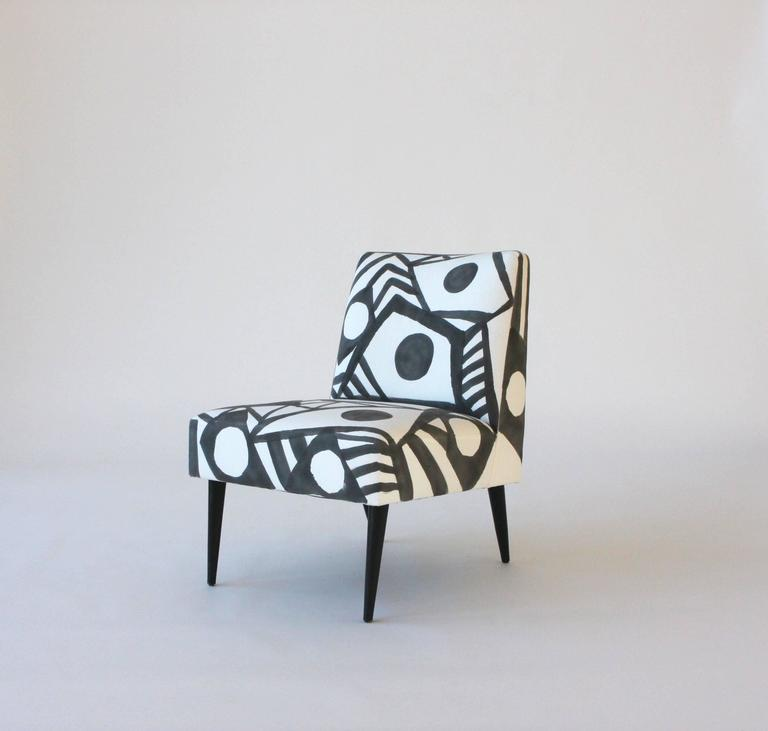Vintage chair, newly reupholstered in 100% cotton duck and hand-painted by artist Kim MacConnel.  Black painted wood legs.  Kim MaConnel is a southern California based artist who was influential in the seminal Pattern and Decoration Movement of