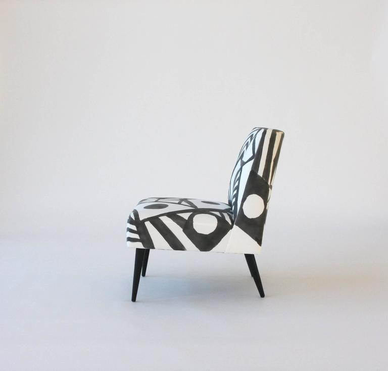 Bohemian Hand-Painted Midcentury Lounge Chair For Sale