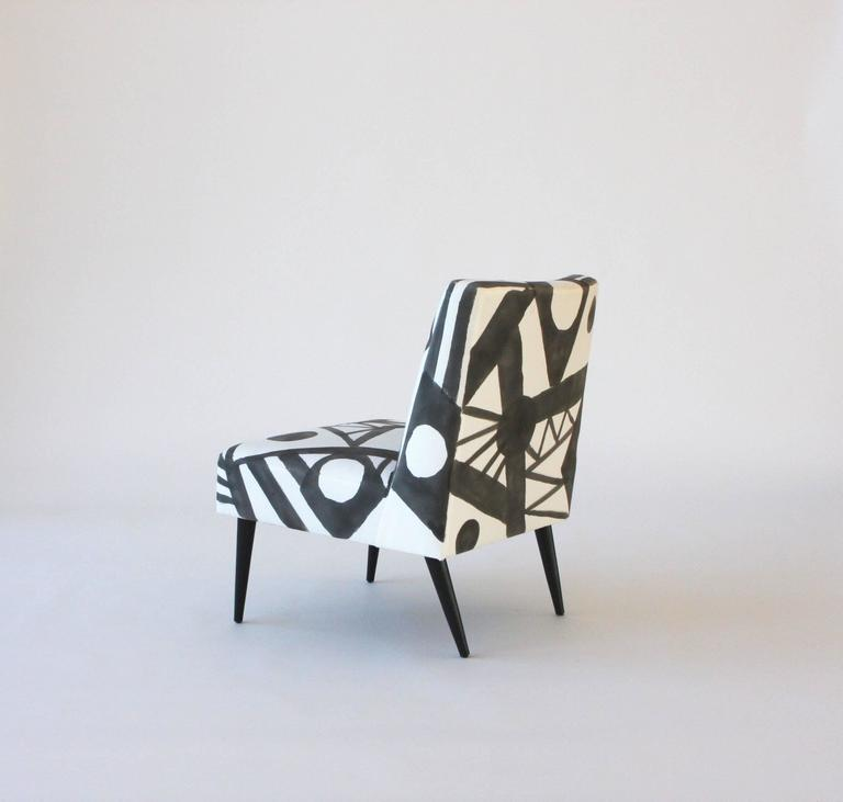 American Hand-Painted Midcentury Lounge Chair For Sale
