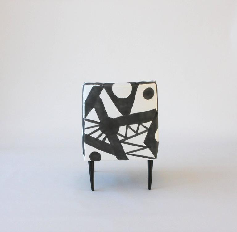 Hand-Painted Midcentury Lounge Chair In Excellent Condition For Sale In New York, NY
