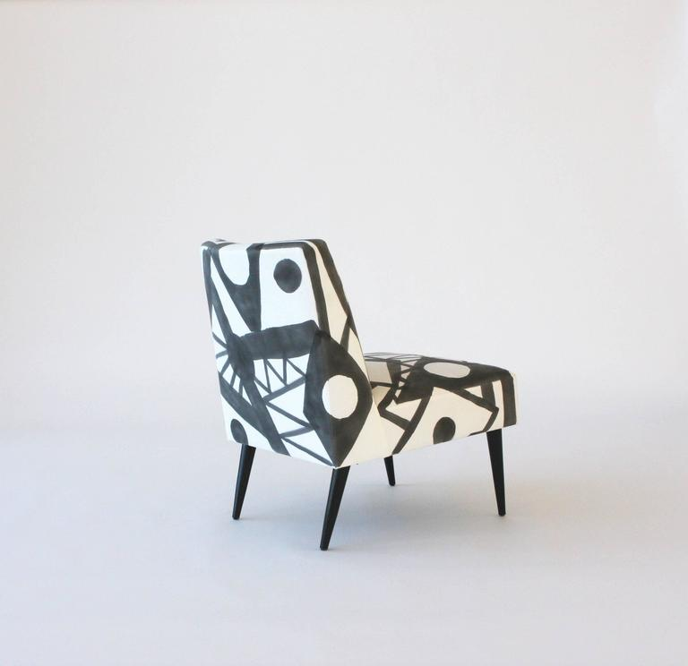 Contemporary Hand-Painted Midcentury Lounge Chair For Sale