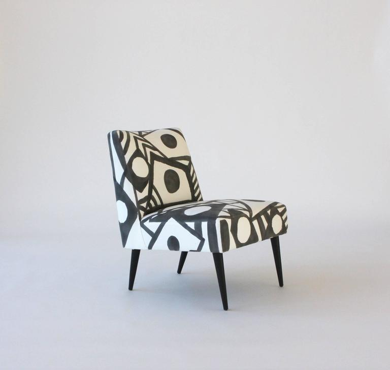 Cotton Hand-Painted Midcentury Lounge Chair For Sale