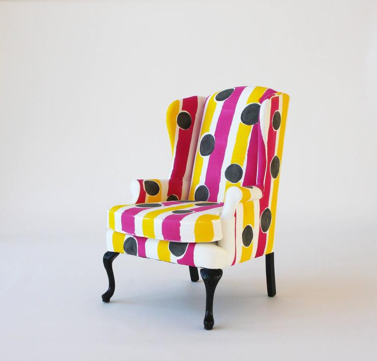 Vintage wing chair, newly reupholstered in 100% cotton duck and hand-painted by artist Kim MacConnel. 