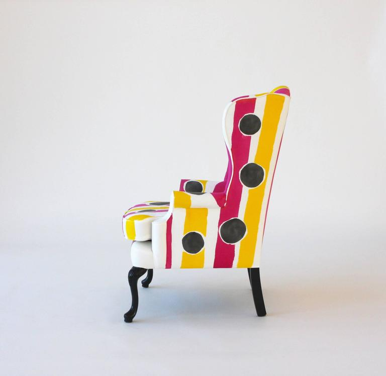 Hand-Painted Wing Chair 3