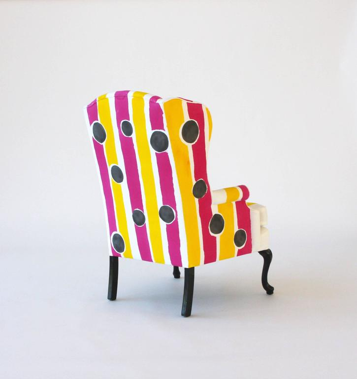 Contemporary Hand-Painted Wing Chair For Sale