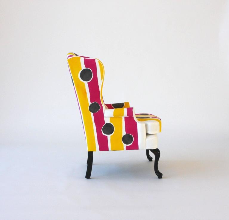 Cotton Hand-Painted Wing Chair For Sale