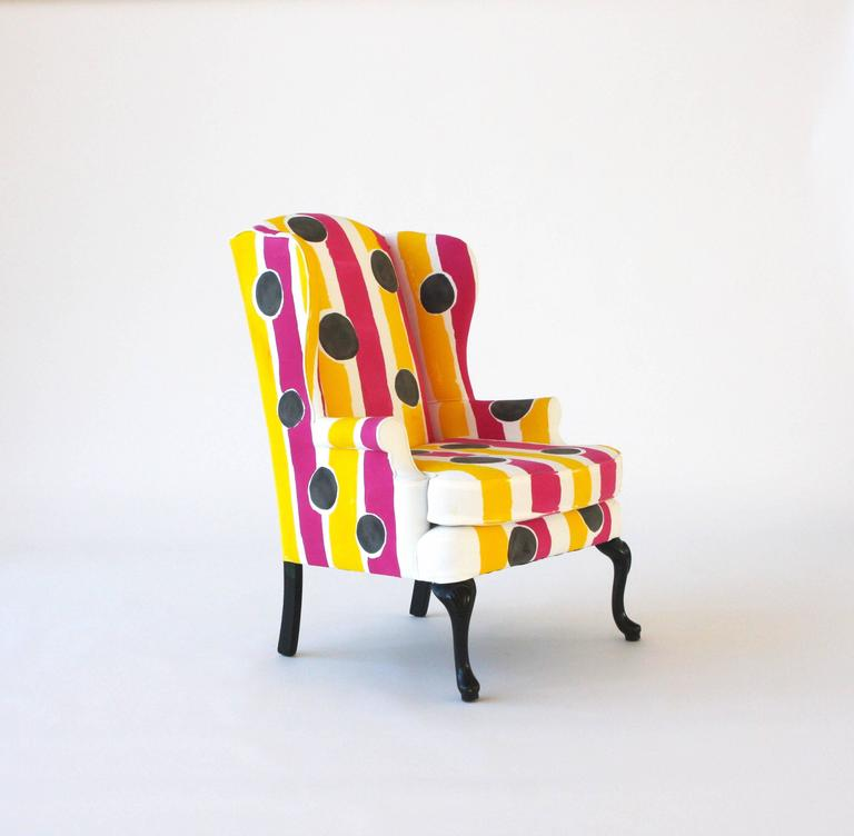 Hand-Painted Wing Chair For Sale 1