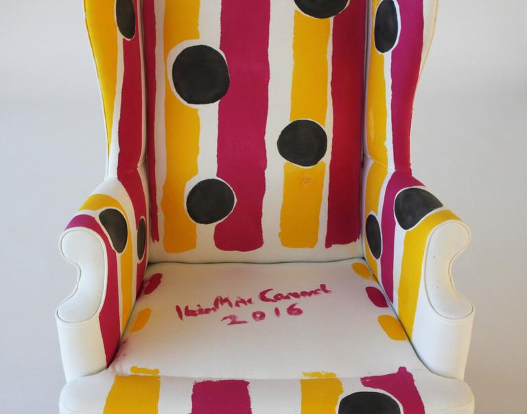 Hand-Painted Wing Chair For Sale 2