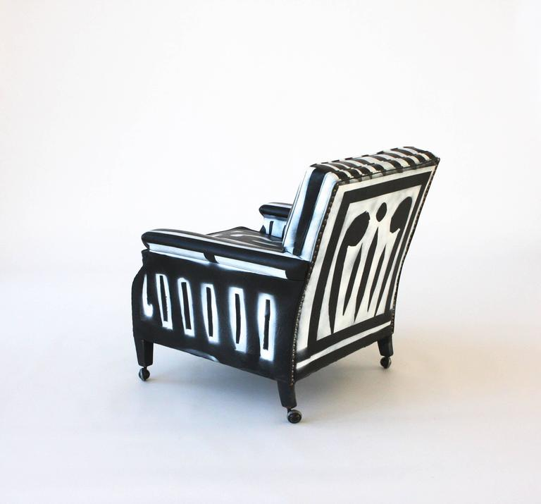 French Reject Austerity >> Hand-Painted Club Chair For Sale at 1stdibs