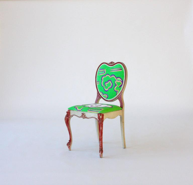 Vintage Victorian-style heart chair, newly reupholstered in 100% cotton duck and hand painted by artist Kim MacConnel.