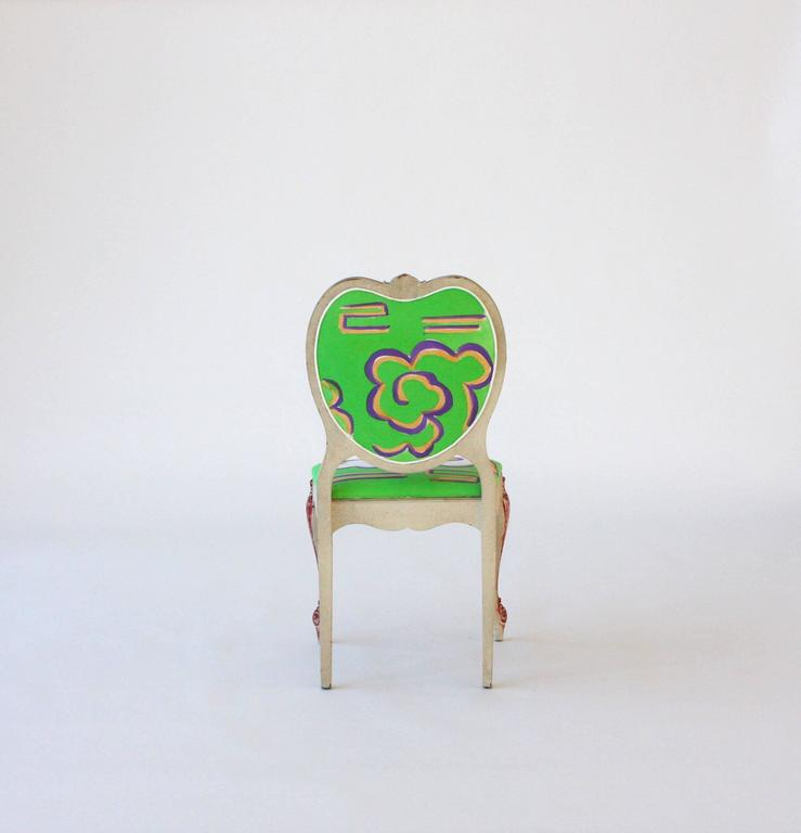 Hand-Painted Victorian Style Heart Chair In Excellent Condition For Sale In New York, NY