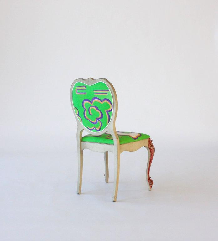 Contemporary Hand-Painted Victorian Style Heart Chair For Sale