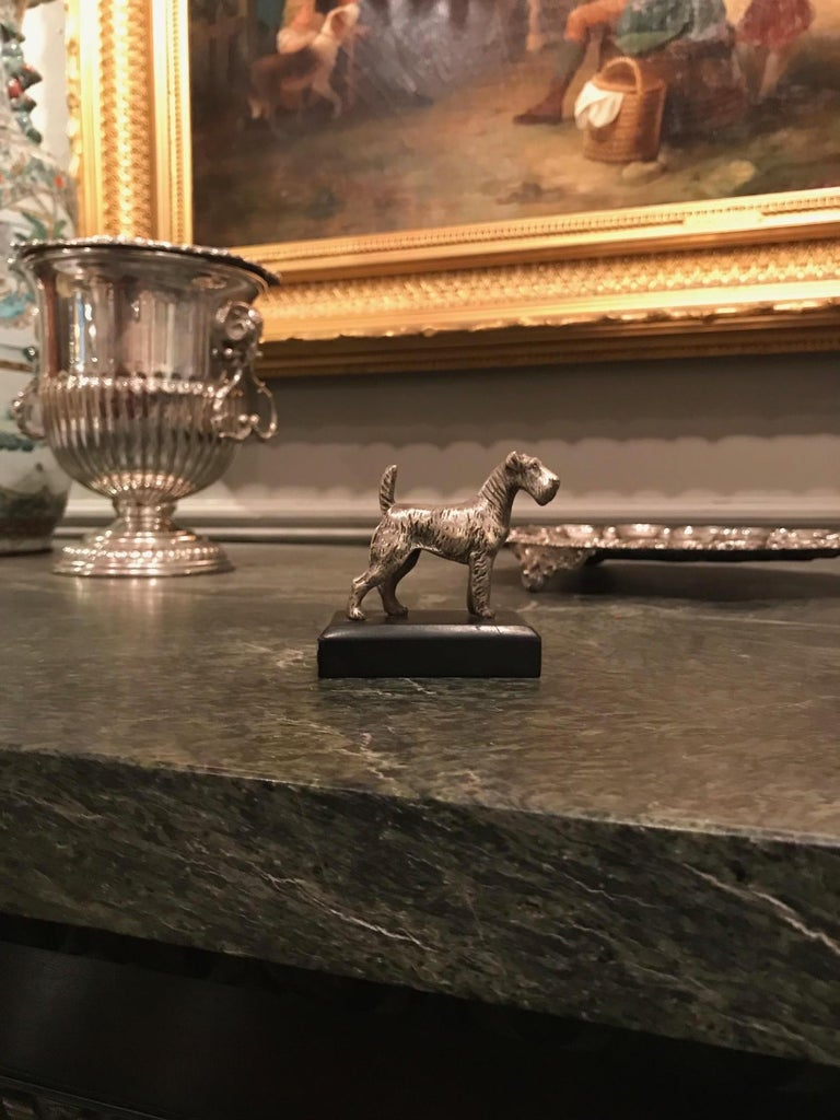 19th century finely cast miniature silvered bronze animalier sculpture of a Kerry Blue Terrier mounted on marble base.