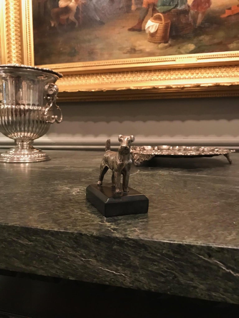 Georgian 19th Century Silvered Bronze Sculpture of a Kerry Blue Terrier For Sale