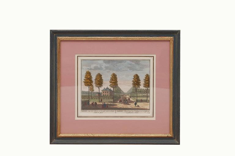 18th Century Dutch Hand-colored Engravings of Gardens, circa 1732 8