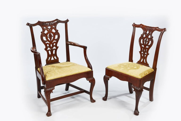 19th Century Set of Eight Chippendale Style Dining Chairs For Sale 3