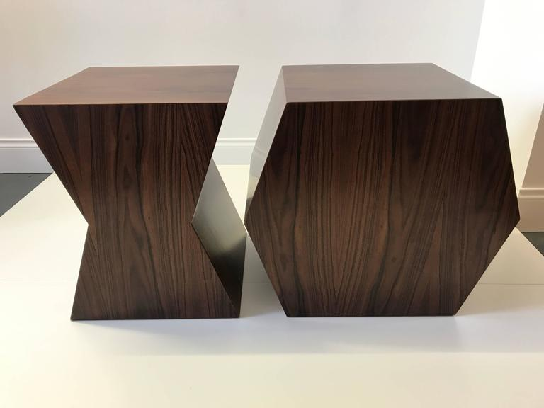 Brazilian iron wood and faceted Lucite stools by André Poli for Vermeil. Limited edition of one; available for immediate purchase.  Measures: X stool: 13.75 inches W, 13.75 inches D, 17.75 inches H. Y stool: 20 inches W, 13.75 inches D, 17.75 inches