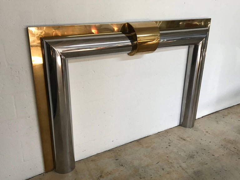 Mid Century Modern 1970s American Polished Br And Steel Fireplace Mantel For