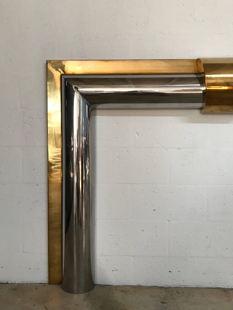 Late 20th Century 1970s American Polished Brass and Steel Fireplace Mantel For Sale