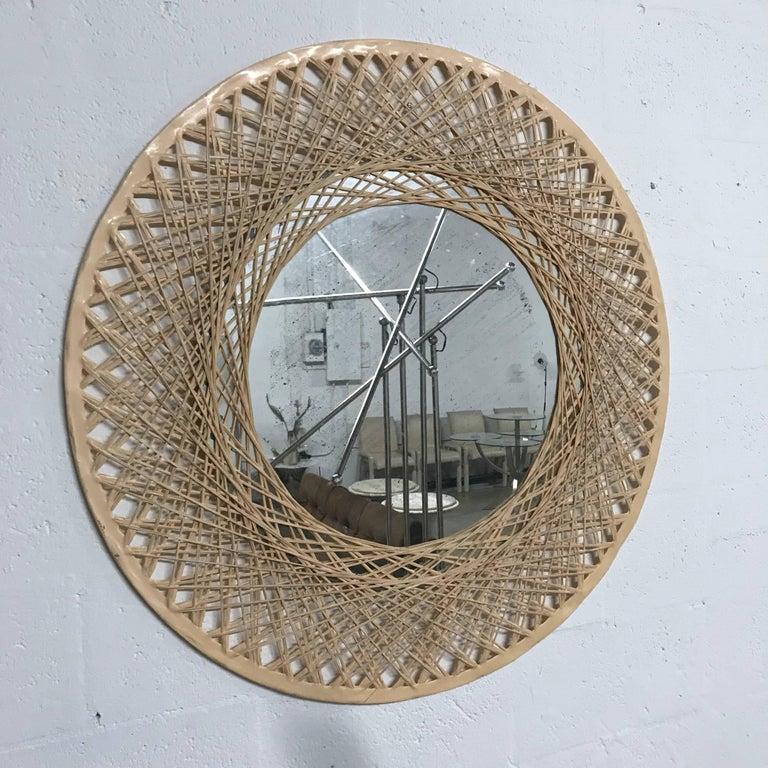 Old Florida spun fiber glass mirror with original antique mirror glass.