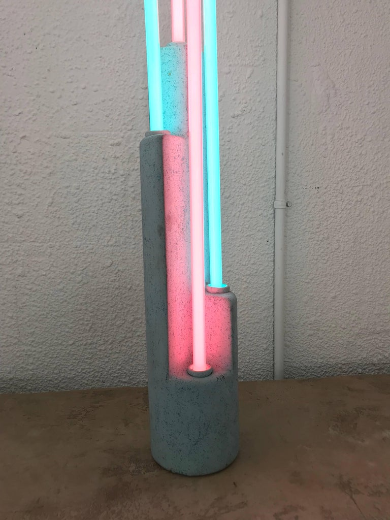 American Postmodern Neon and Ceramic Sculpture Lamp