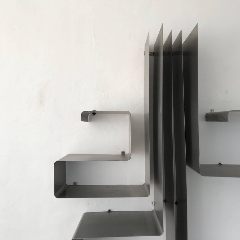 "Steel François Monnet and Joelle Ferlande ""Zig-Zag"" Wall Unit or Shelving for Kappa For Sale"