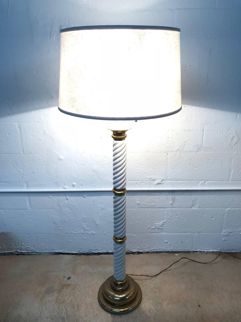 20th Century Tommaso Barbi Ceramic and Brass Floor Lamp For Sale