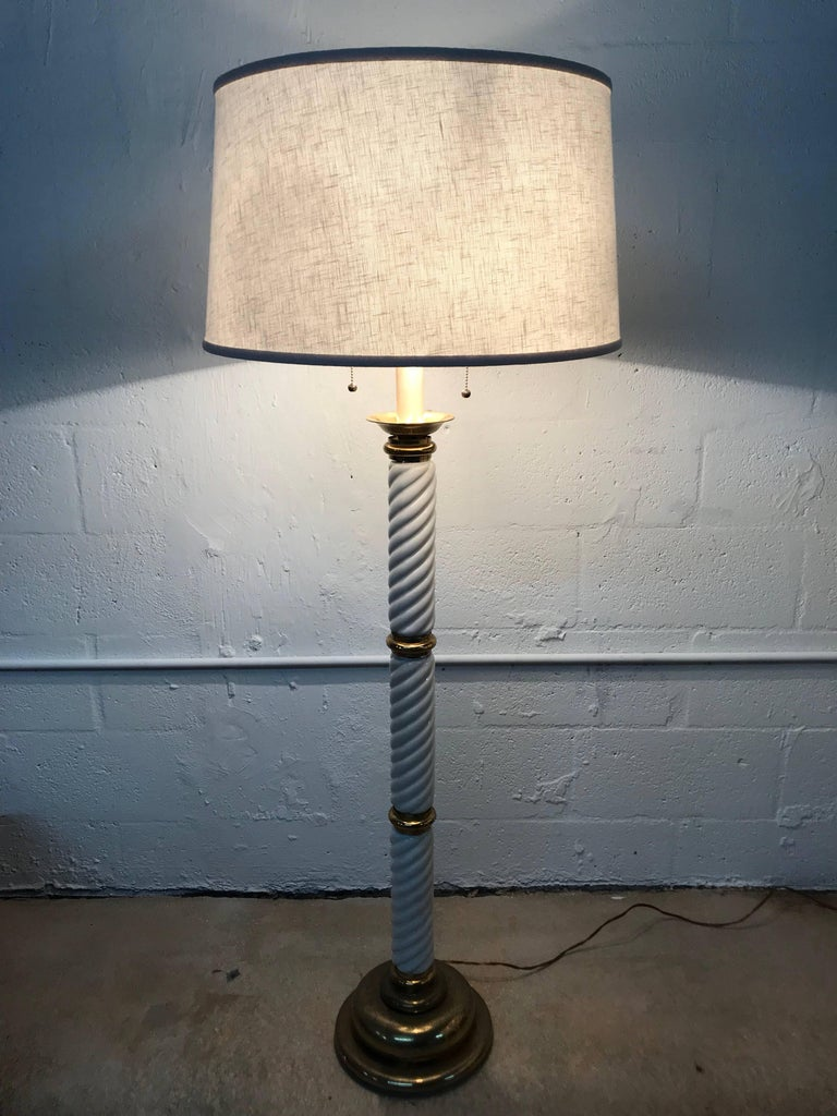 Tommaso Barbi Ceramic and Brass Floor Lamp For Sale 1