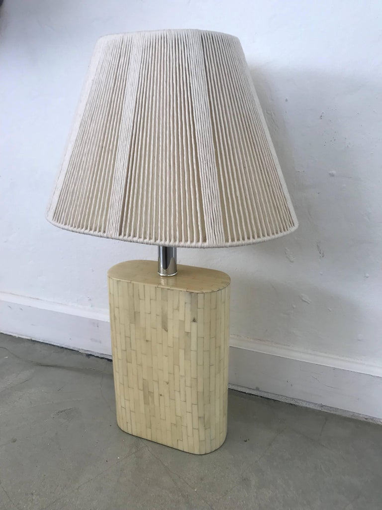 Excellent pair of tessellated camel bone lamps with original string shades