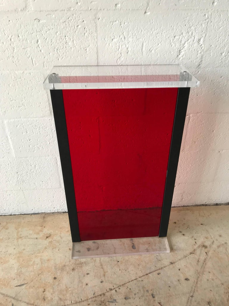 Postmodern Red Lucite Pedestal Pedestal From The Versace Store In