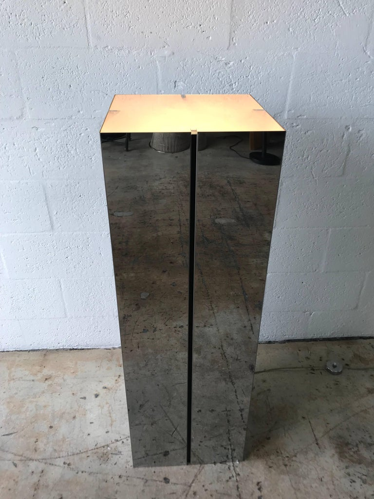 Frosted Neal Small Illuminated Steel and Glass Pedestal Stand or Lamp For Sale