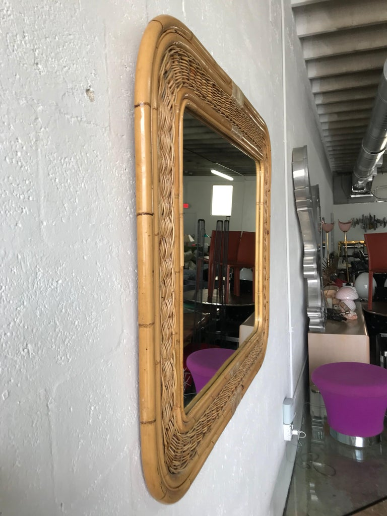 Post-Modern Postmodern Bamboo Wicker Rattan Mirror For Sale