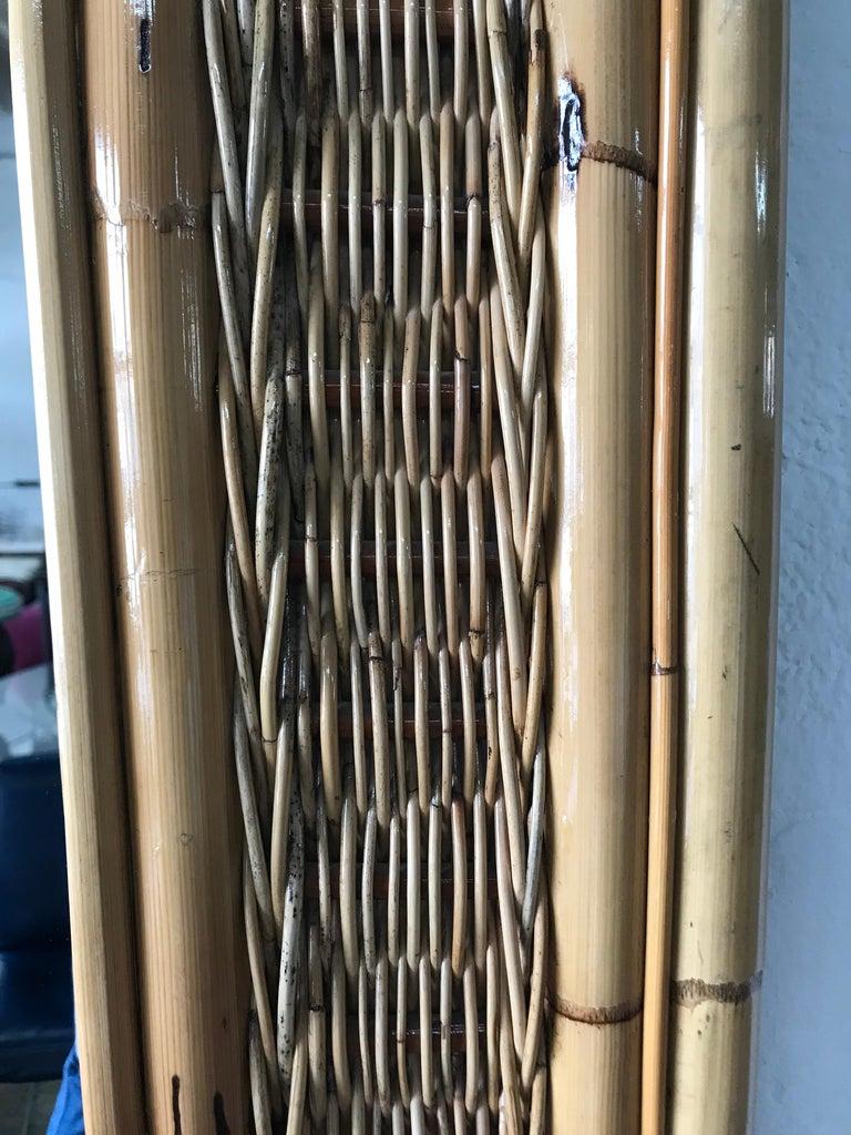 Italian Postmodern Bamboo Wicker Rattan Mirror For Sale