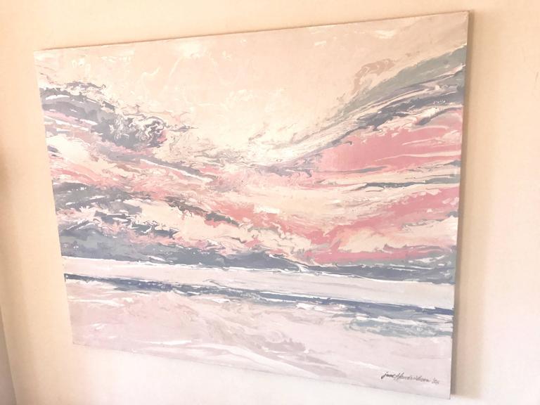Sunset oil painting by June Hendrickson, 1986.