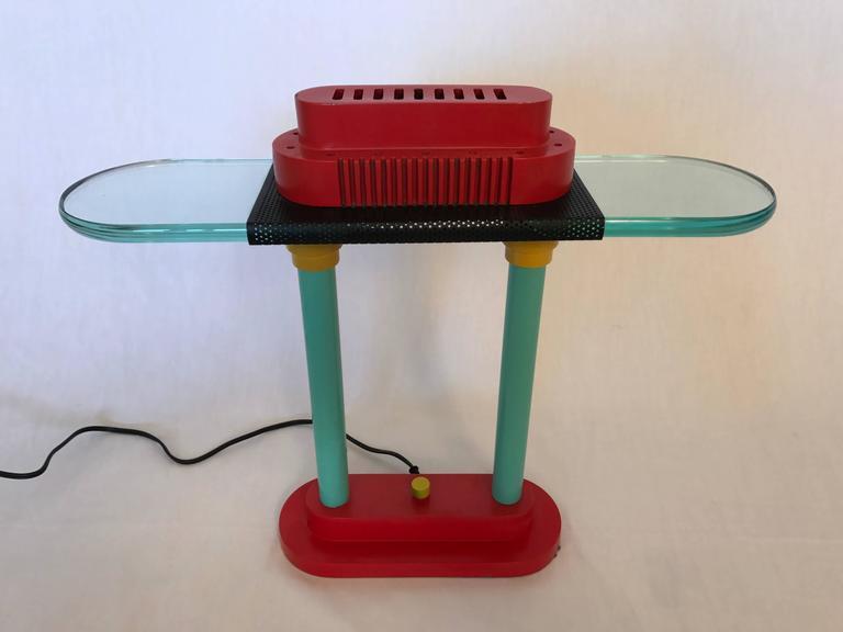 Memphis inspired desk or table lamp by Robert Sonneman for George Kovacs, 1980s.