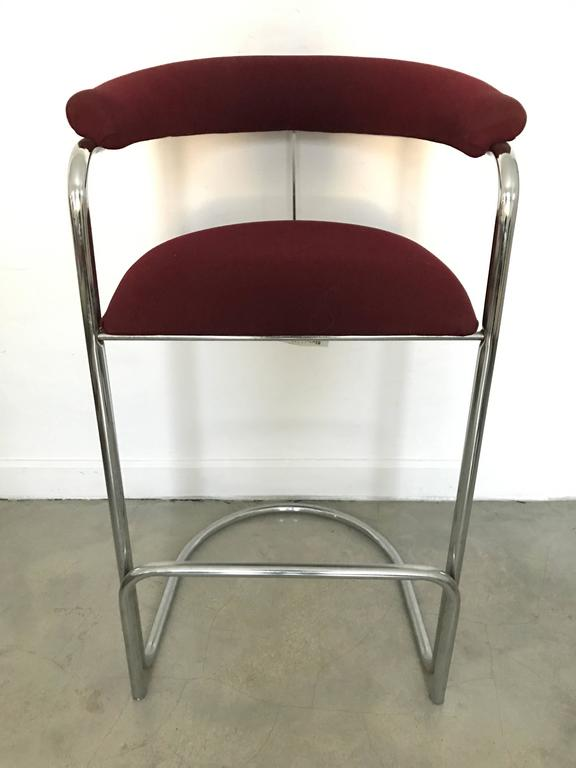 Pair Of Anton Lorenz Bar Stools For Thonet From The Miami