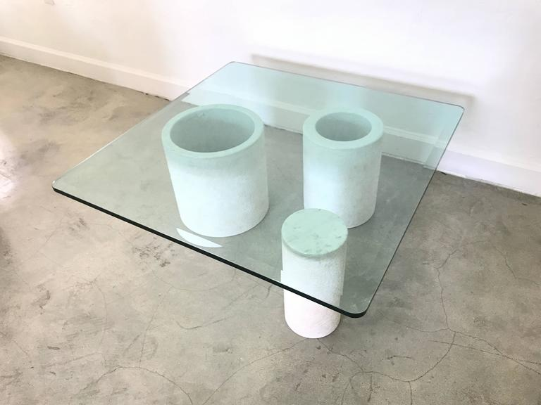 Italian Angelo Mangiarotti Style Carrara Mable Glass Cocktail or Coffee Table, 1987 For Sale